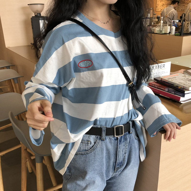 Women Spring Autumn Stripes Long Sleeve Loose T Shirt Blouse blue_XL