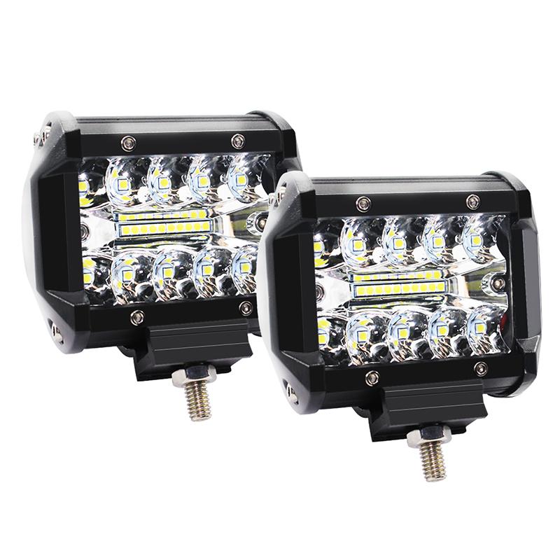 4 Inch 60W 3 Rows LED Lights Working Light Drive Off-road Lights Roof Strip Lights - 2Pcs black