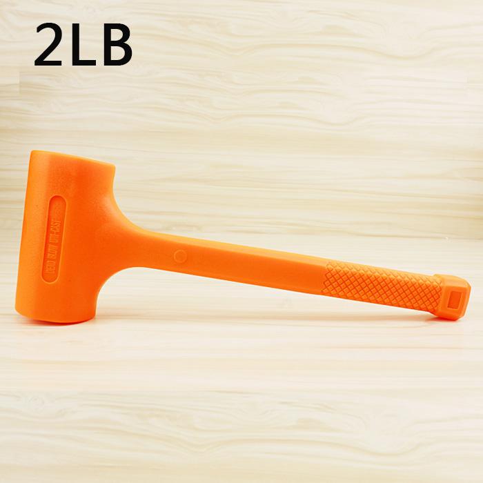 Solid Hammer Dead Blow Mallet Orange Soft Rubber Unicast Hammer 0.5-2LB 2BL