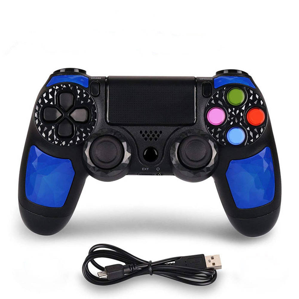 Wireless Bluetooth Gamepad Host Controller Vibration Touch for IOS Phone PS4 blue