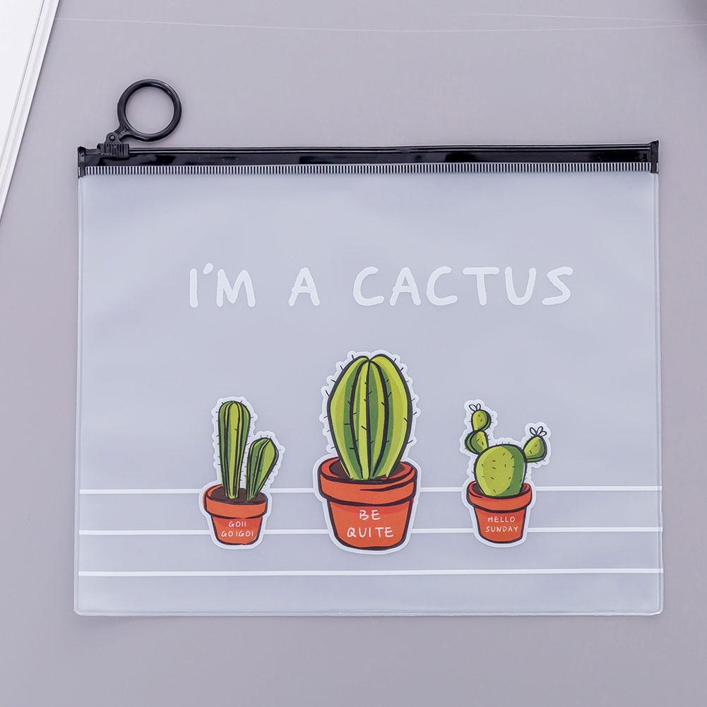 Cartoon Cactus Printing Transparent Pencil Case Big Capacity Stationery Pouch