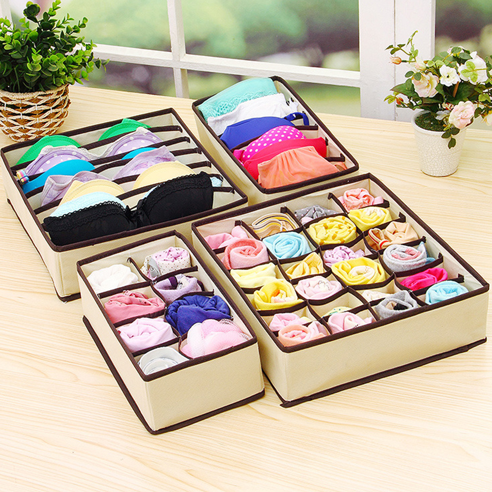 4Pcs Solid Color Storage Box for Home Underwear Bra Socks Organize