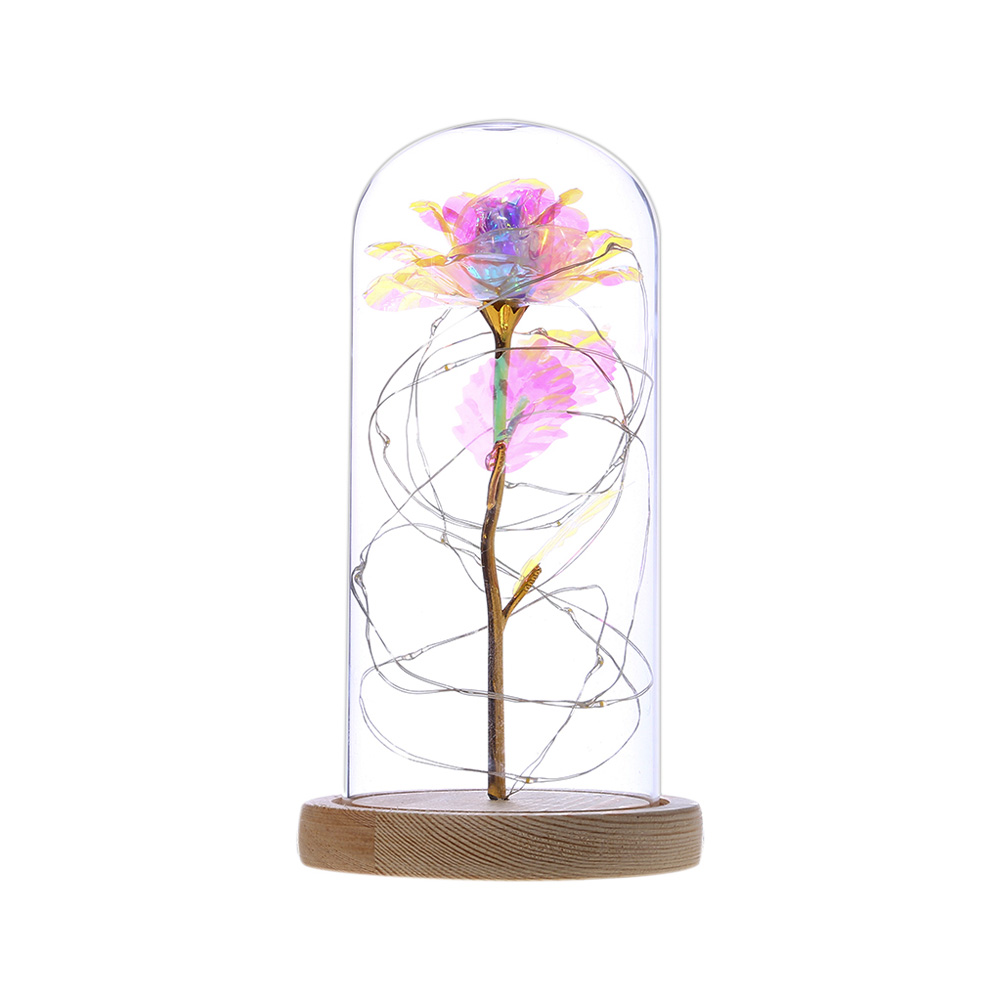 Glass Dome Rose with Wooden Base Valentine's Day Gifts Christmas LED Rose Lamps Home Decoration As shown