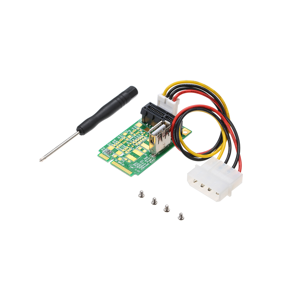 Mini PCIe to PCI Express 4x 8x 16x Slot Riser Card Adapter with 4 PIN Power Cord for Production Testing green