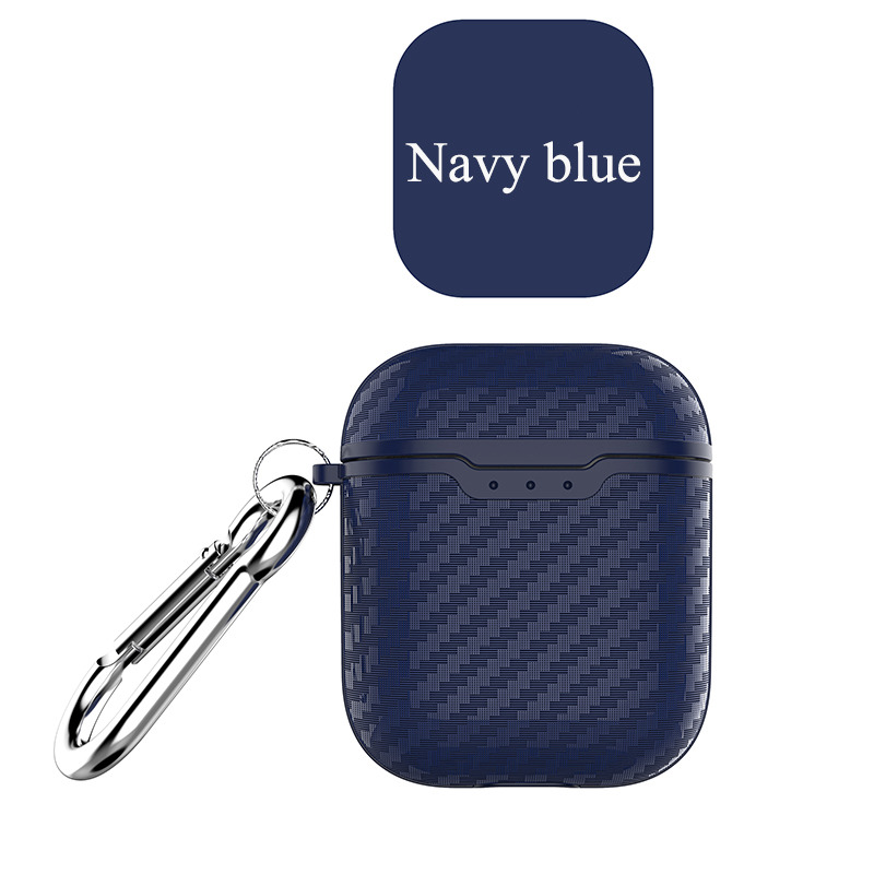 Earphone Case for Apple Airpods Travel Storage Cover Carbon Fiber Style Full Protective Case Anti-scratch blue_Airpods case