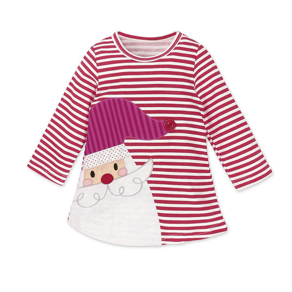 Kids Baby Girls' Long Sleeve Round Neck Elk/Santa Claus Pattern Knee-length Dress fro Xmas Gift
