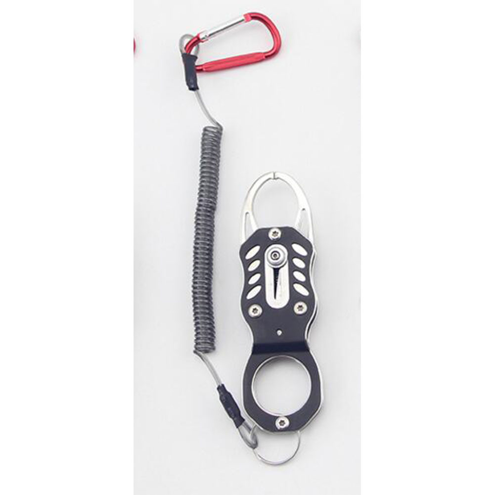 Portable Fish Grip Grab Catch Mouth Lip Gripper Grabber Catcher Fishing Tackle Tools Mini stainless steel fish control_Black + rope + white box packaging