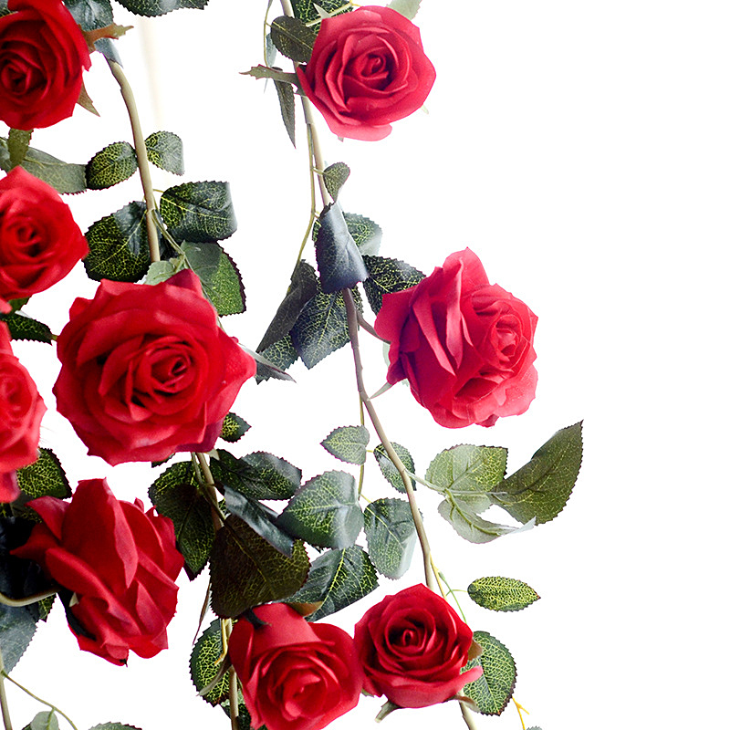 6 Feet Hand-made Artificial Silk Rose Vines Decorative Fake Rose Flower for Home Wall Garden Wedding Party Decor Red