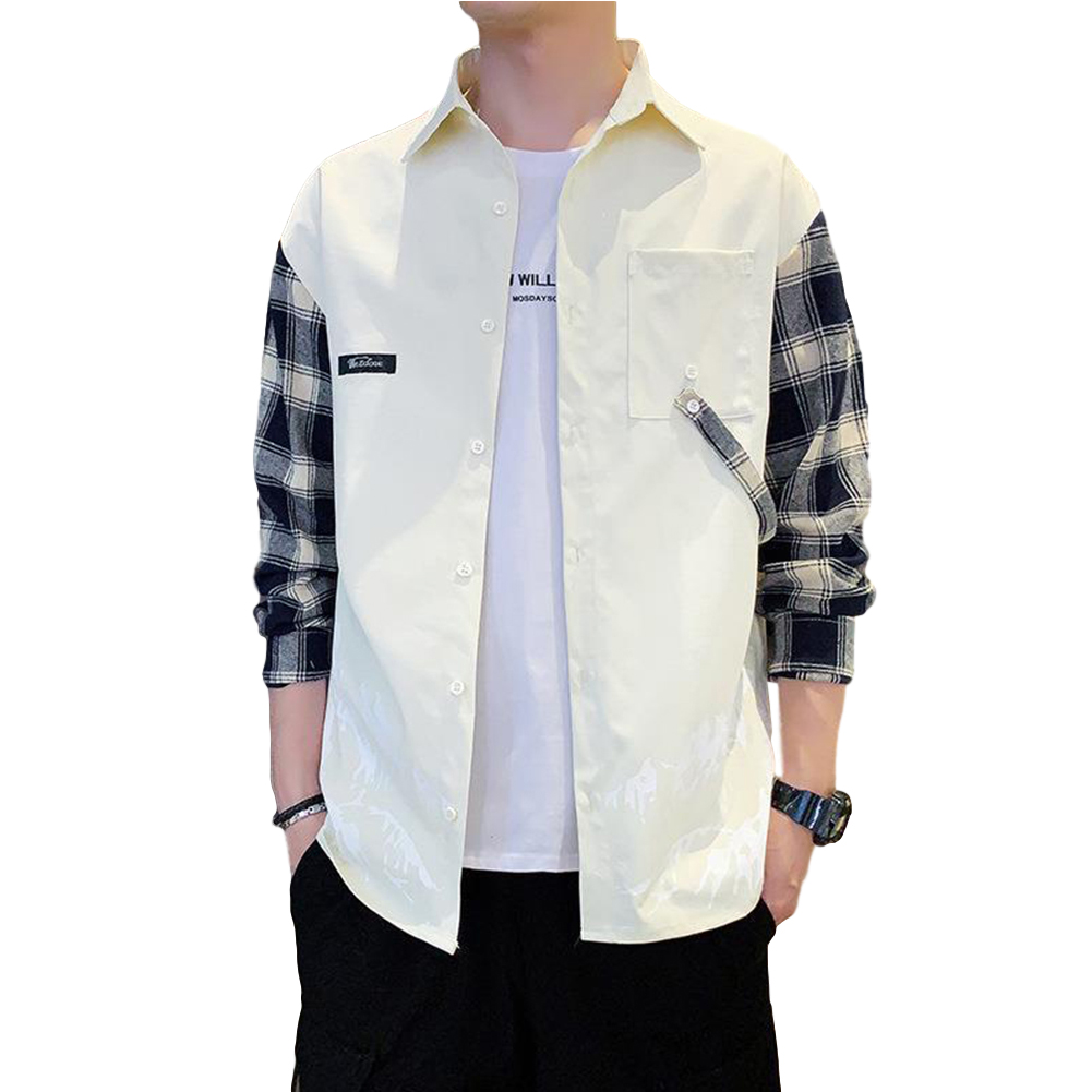 Men Plaid Printing Shirt Long Sleeve Autumn Teenagers Loose Blouse creamy-white_2XL