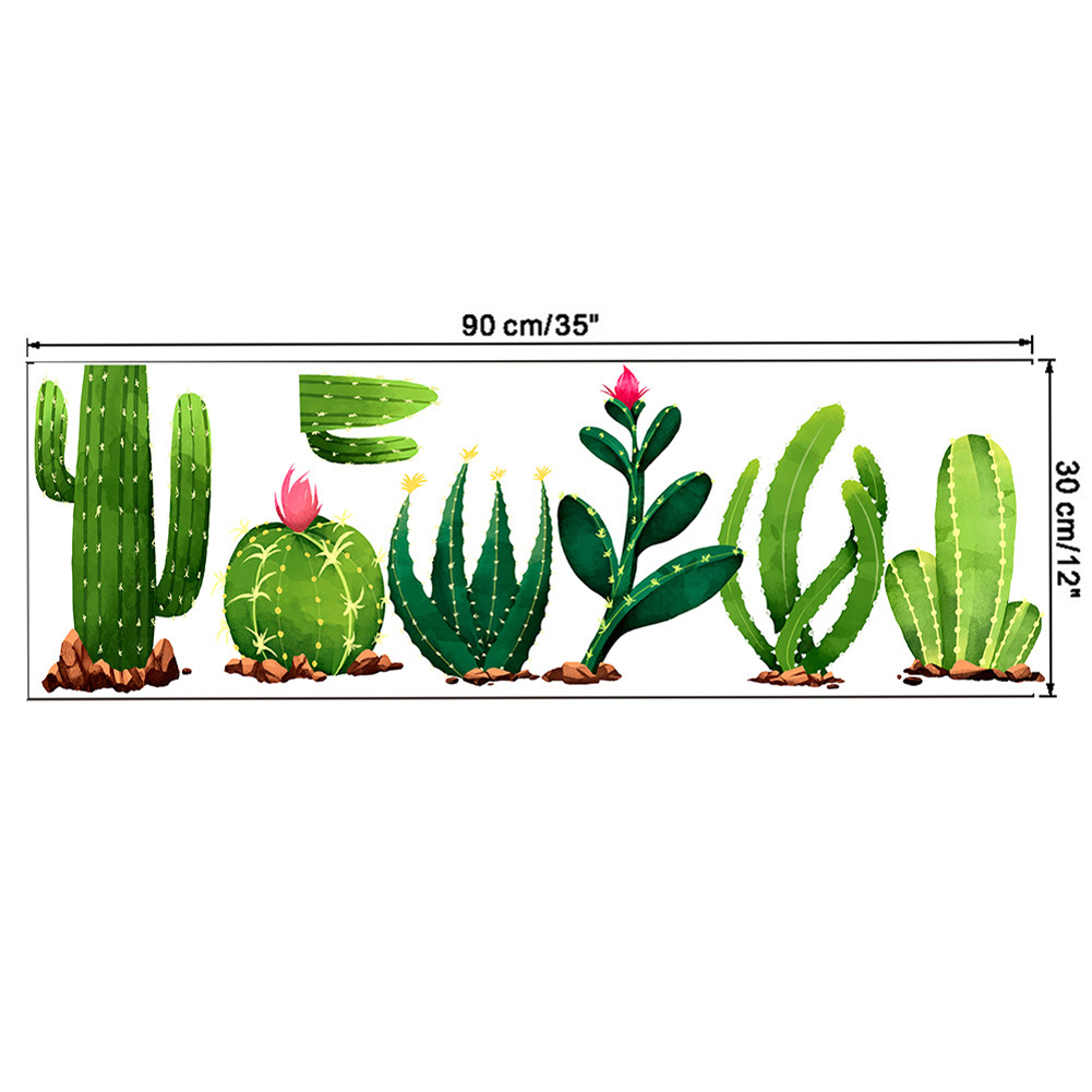 Cactus Pattern Wall Sticker for Living Room Bedroom Kids Room Decoration C-30 * 90CM