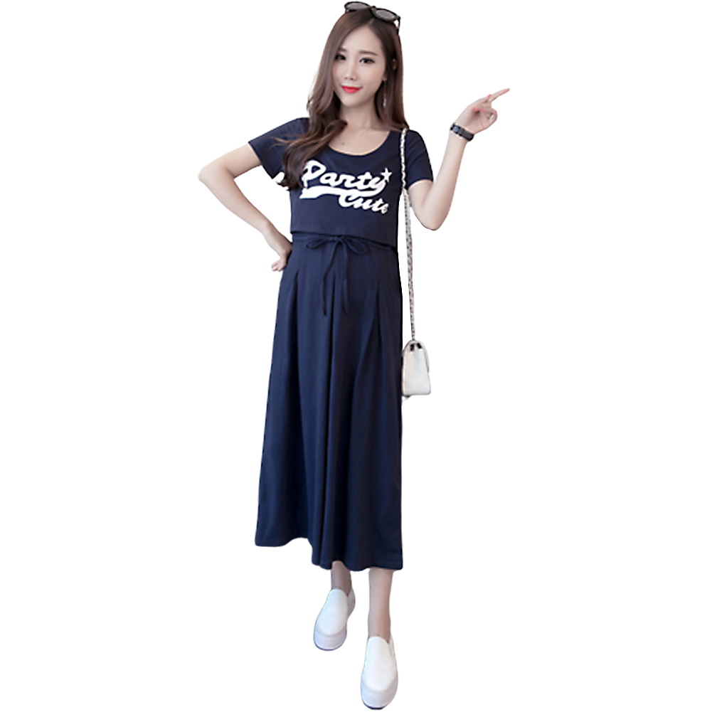 Pregnant Women Summer Short-sleeve Long-section Dress  Navy blue_L