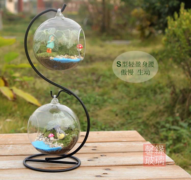 S Globe Shape Clear Hanging Glass Vase Ornament Micro Landscape Wedding Home Decor