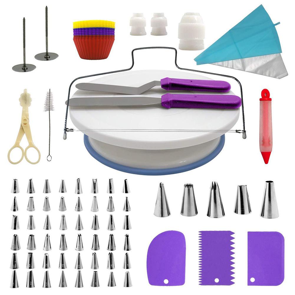 106Pcs Professional Stainless Steel DIY Baking Tools Cake Decorating Supplies Kit Cake Turntable Set Purple suit