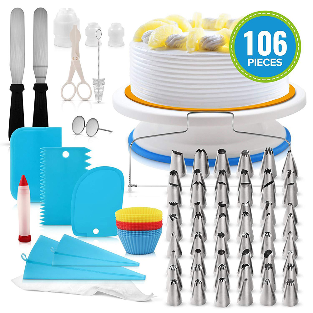 106Pcs Professional Stainless Steel DIY Baking Tools Cake Decorating Supplies Kit Cake Turntable Set Blue suit