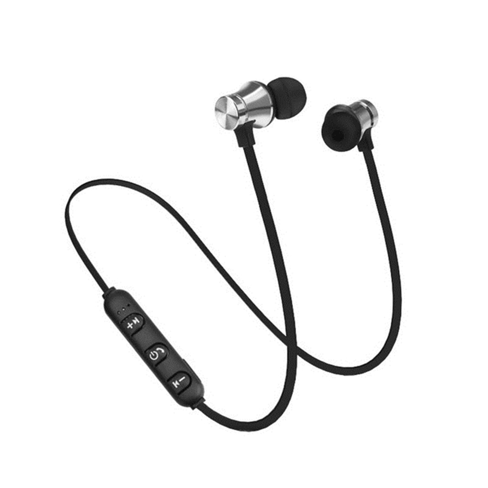 XT11 Magnetic Bluetooth 4.2 Earphone Sport Running Wireless Neckband Headset Headphone with Mic Stereo Music for Android Silver