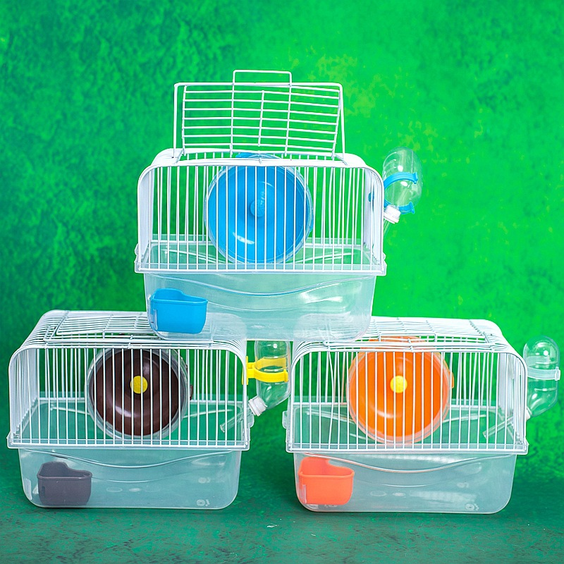Pet Hamster Cage Luxury House Portable Mice Home Habitat Decoration  yellow_L