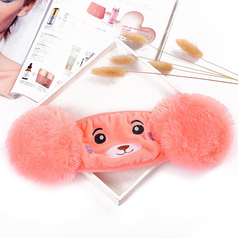 Kid 2-in-1 Warm Mask Earmuffs Cartoon Bear Winter Thicken Plush Riding Outdoor Wear Dark pink