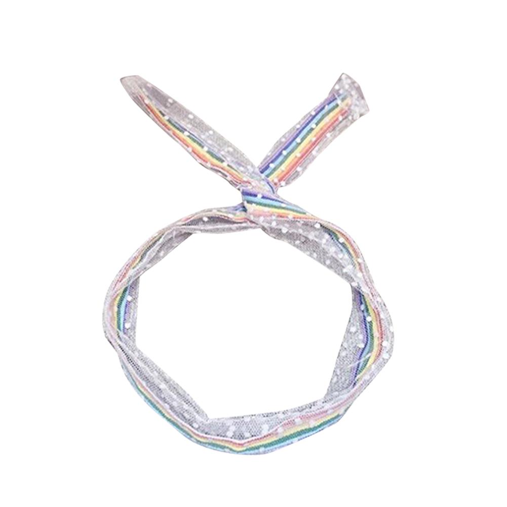 1 Piece Girl'S Mesh Yarn Hair Band Ins Wild Sweet Mesh Bow Tie Rainbow Headband 01 wave point 3810