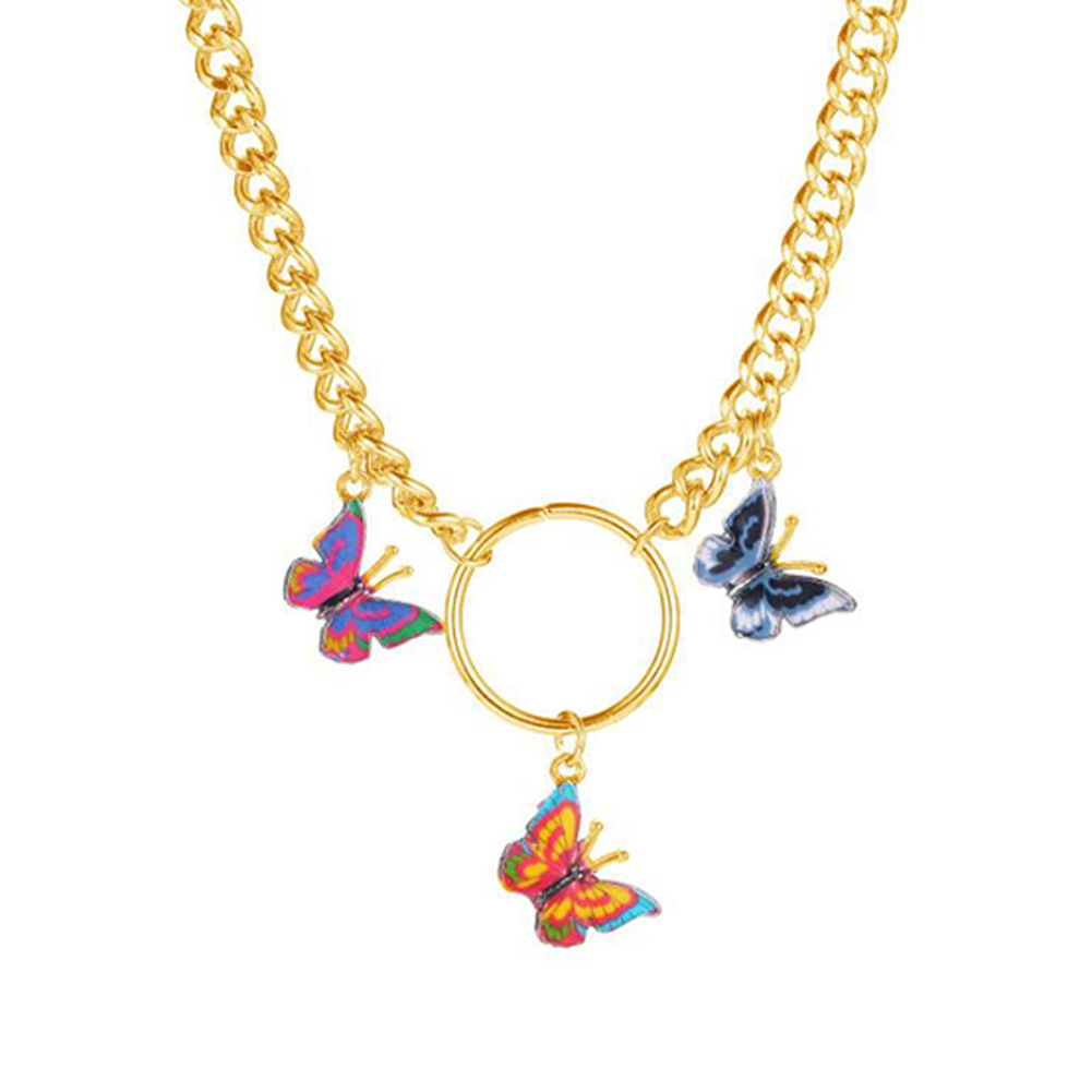 Women's Fashion Colorful Butterfly Necklace Temperament Thick Chain Clavicle Chain 02 gold 6828