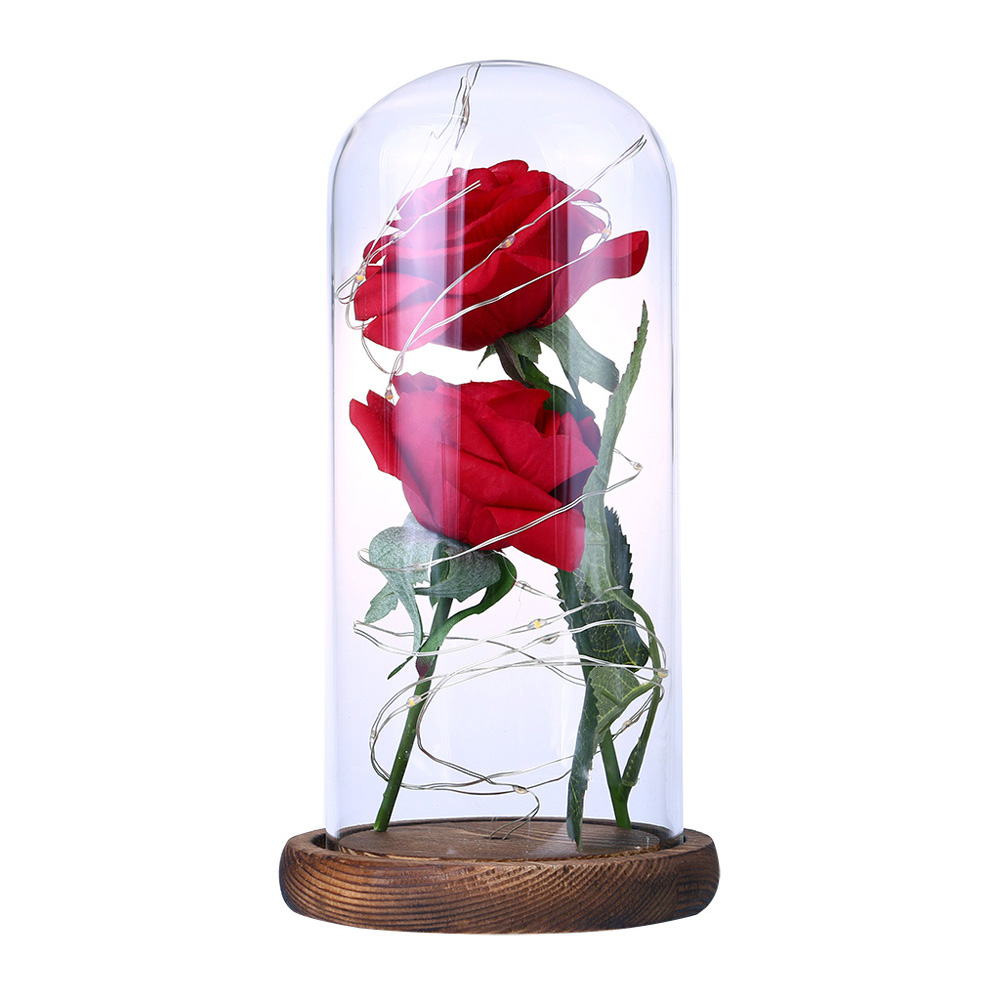 Romantic Simulate Rose Shape Night Light with Glass Shade for Home Valentine Tabletop Decor Brown base