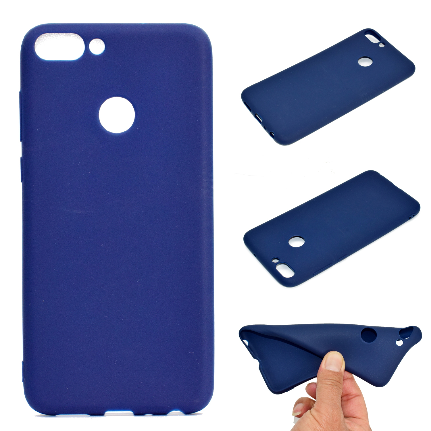 for HUAWEI Honor 9 lite Cute Candy Color Matte TPU Anti-scratch Non-slip Protective Cover Back Case Navy