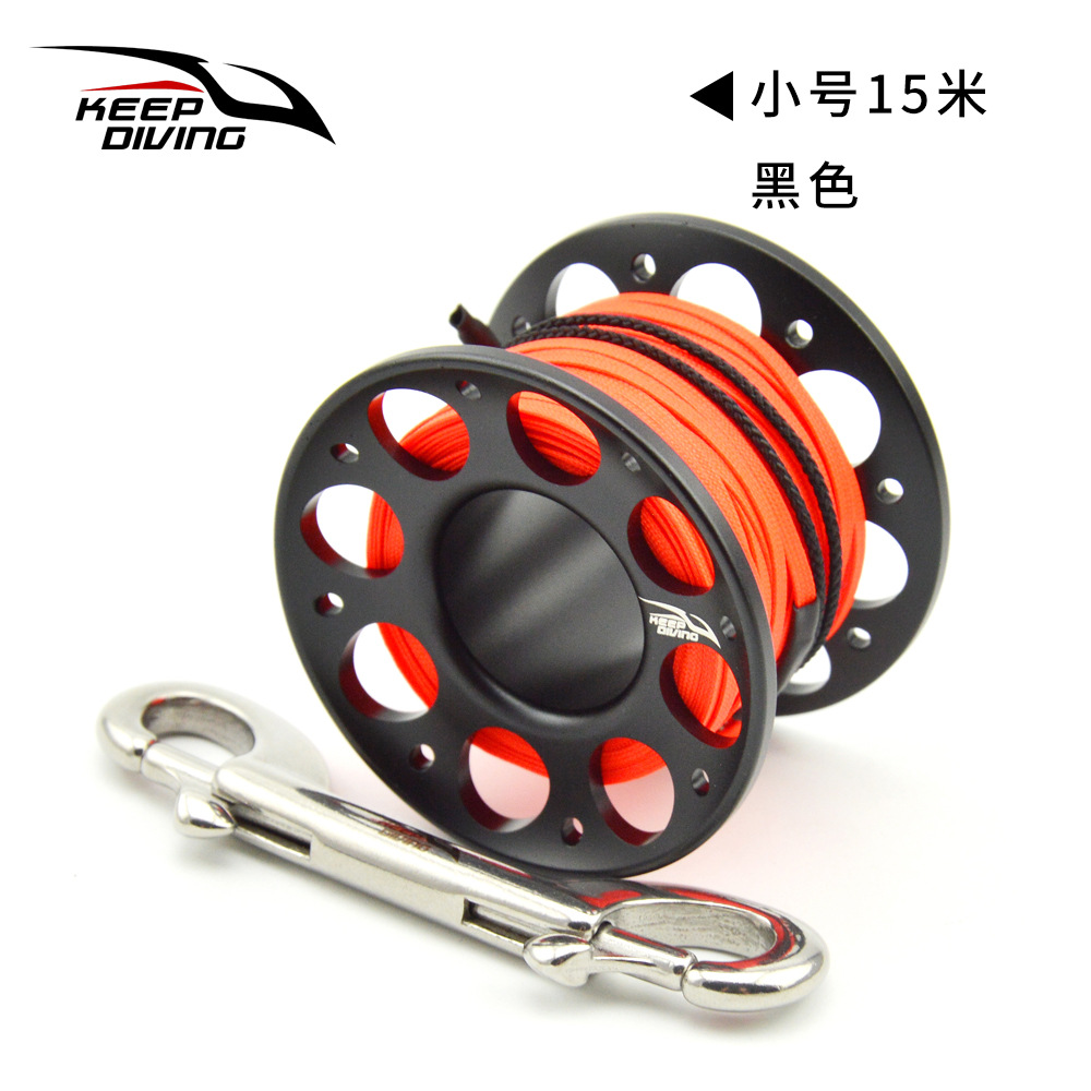 FXL-952 15M/30M Scuba Diving Aluminum Alloy Spool Finger Reel with Stainless Steel Bolt Snap Hook Safe Equipment 15 meters black