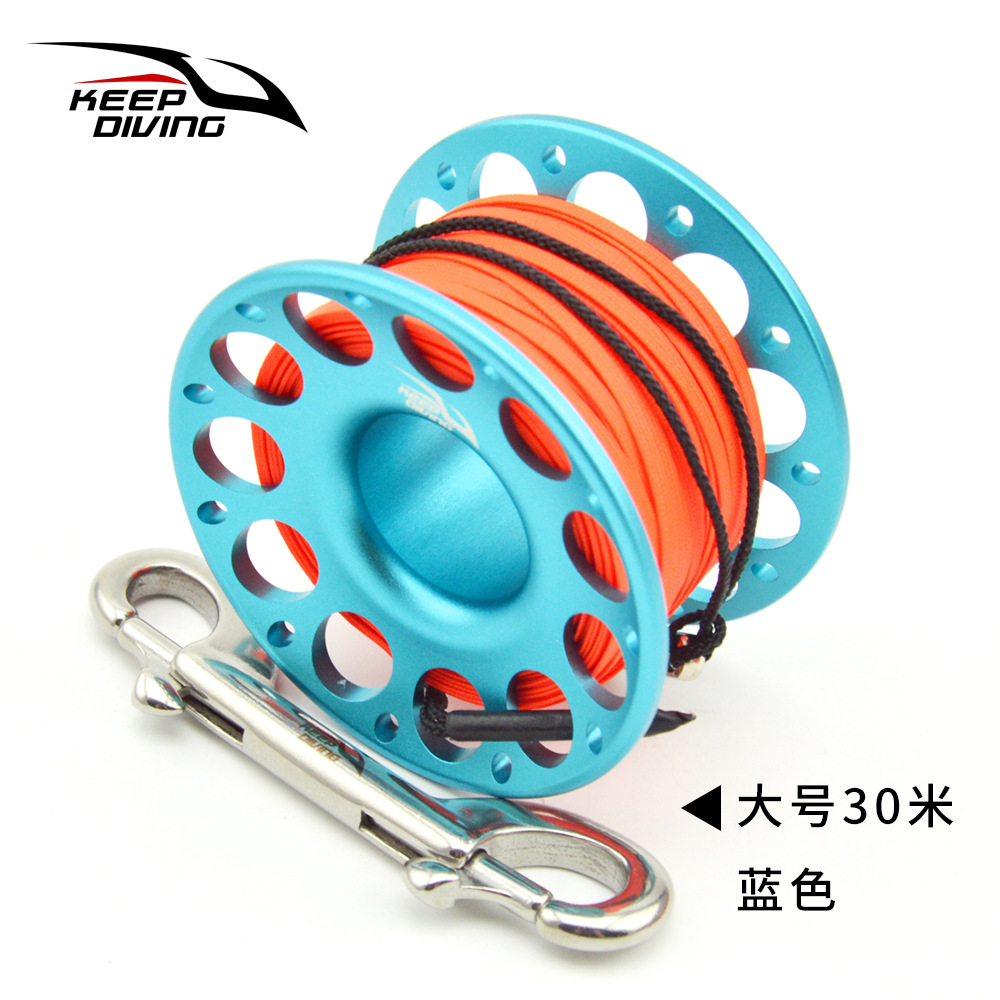 FXL-952 15M/30M Scuba Diving Aluminum Alloy Spool Finger Reel with Stainless Steel Bolt Snap Hook Safe Equipment 30 meters blue