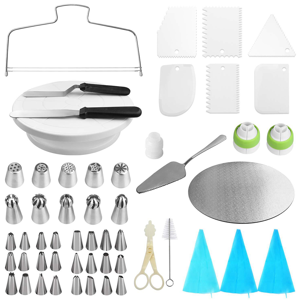 54Pcs/Pack No Skid Proof Cake Turntable Baking Pastry Supplies Plastic Cake Decorating Kit 54Pcs/Pack Turntable Tool