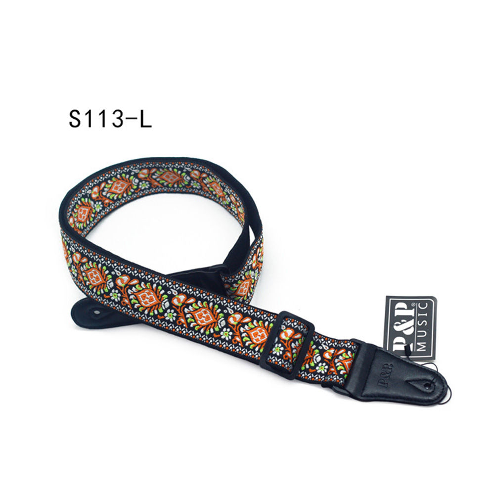 Guitar Strap Embroidered Belt Adjustable Jacquard Band with Leather End for Bass Acoustic Electric Folk Guitar Musical Instrument Black leather end