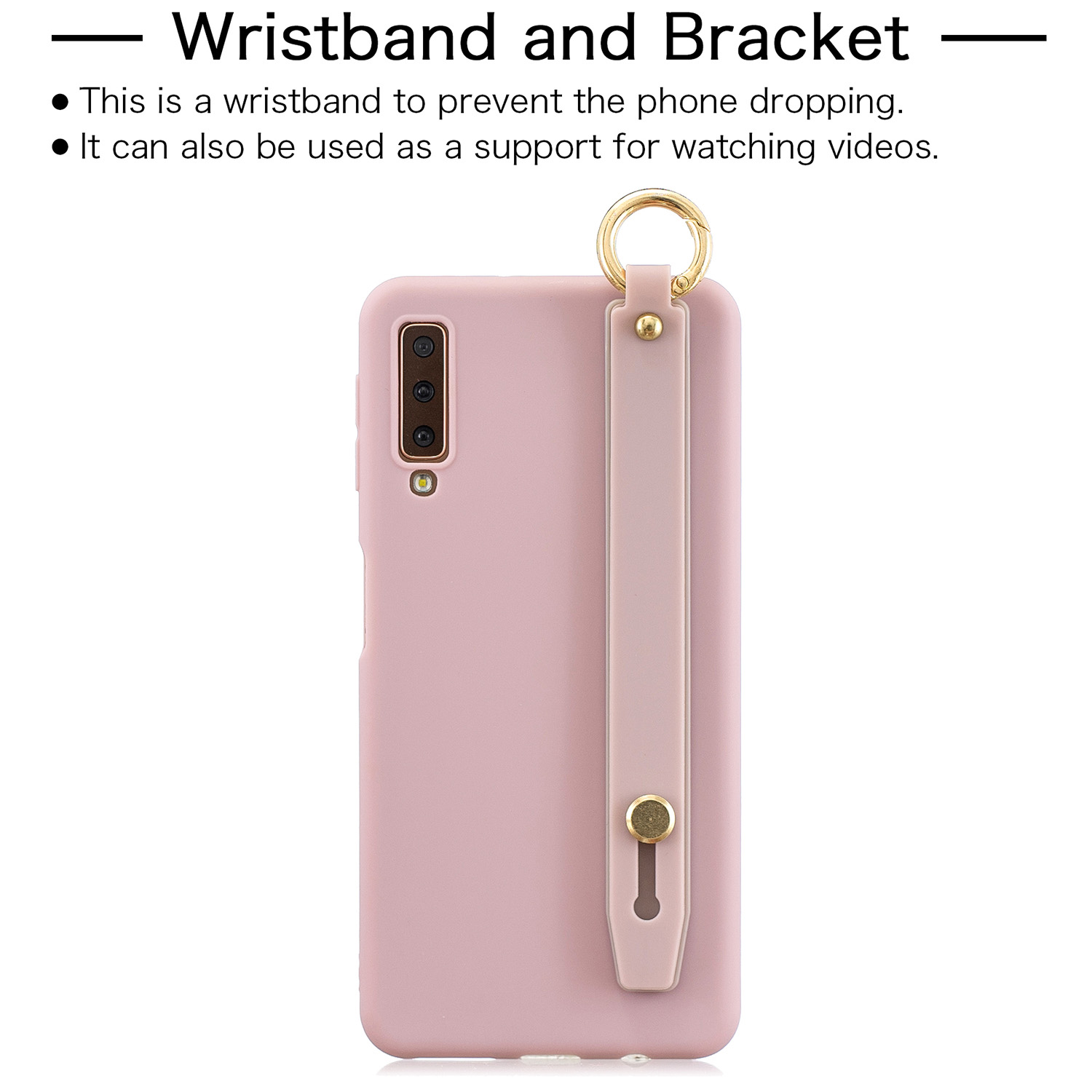 For Samsung A7 2018 Simple Solid Color Chic Wrist Rope Bracket Matte TPU Anti-scratch Non-slip Protective Cover Back Case 11 Lotus pink