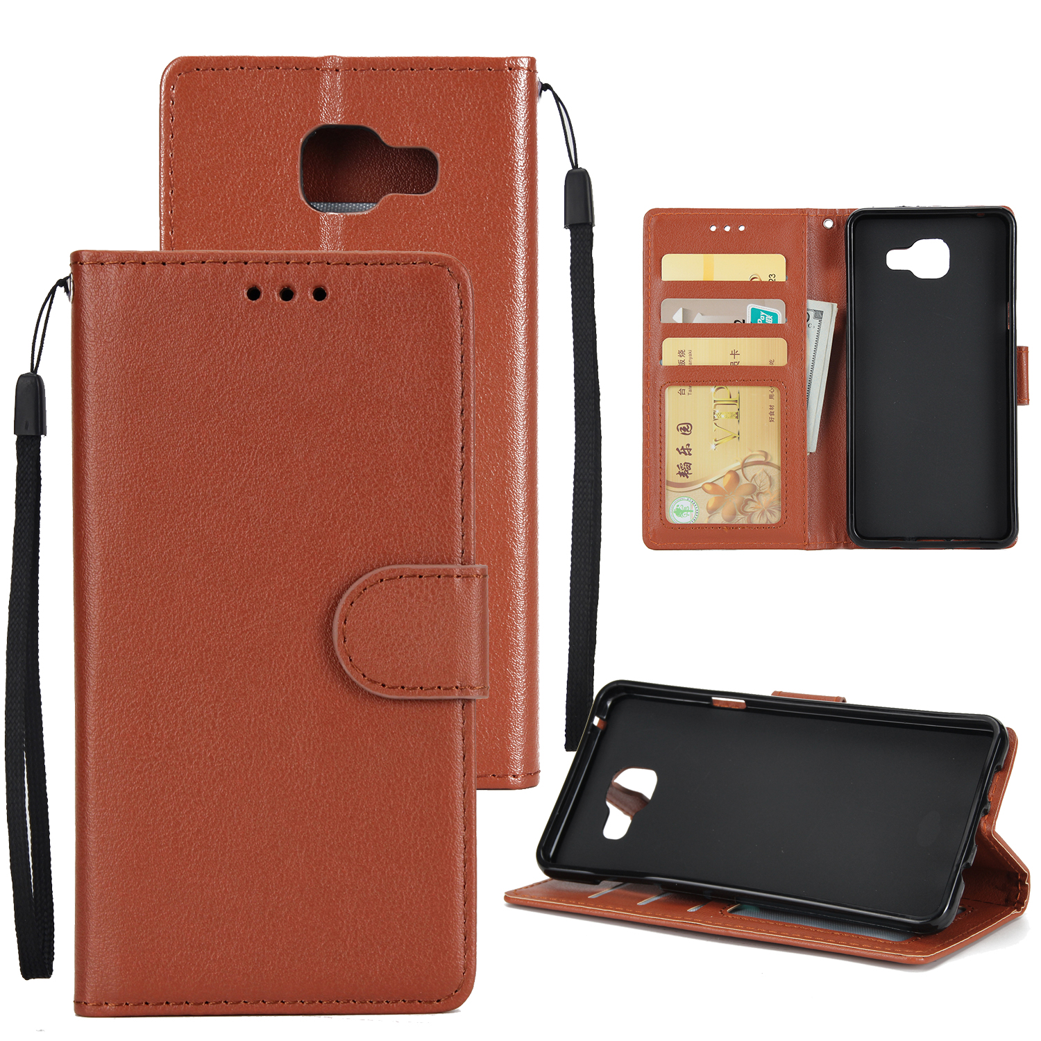 For Samsung A7 2017/A720 PU Leather Cell Phone Case Protective Cover Shell with Buckle brown