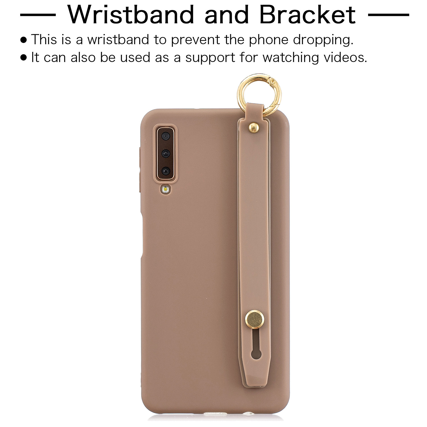 For Samsung A7 2018 Simple Solid Color Chic Wrist Rope Bracket Matte TPU Anti-scratch Non-slip Protective Cover Back Case 9 coffee