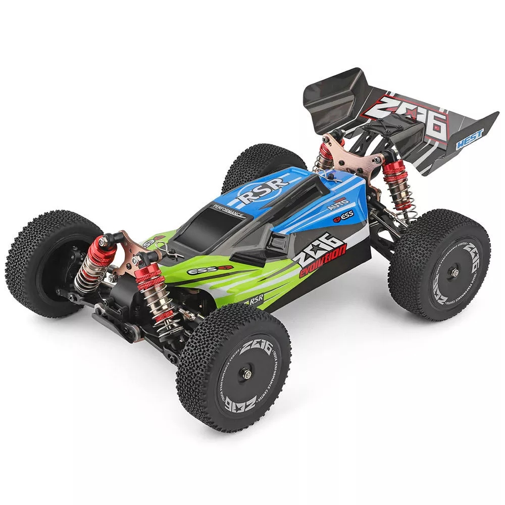 WLtoys 144001 RTR 2.4GHz RC 1/14 Scale Drift Racing Car 4WD Metal Chassis Shaft Ball Bearing Gear Hydraulic Shock Absober green with three batteries