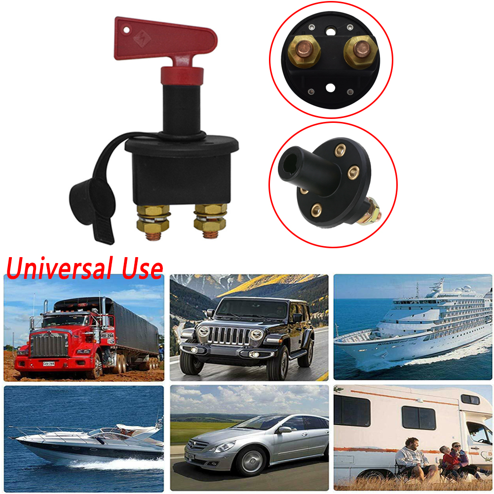 Auto Knob Switch Car Battery Disconnect Safety Kill Cut-off Switch Brass Terminals Cut Off Red black