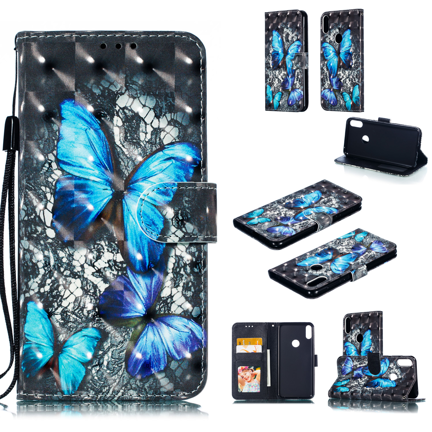 For ASUS ZENFONE MAX Pro M1/ZB601KL/ZB602KL 3D Coloured Painted PU Magnetic Clasp Phone Case with Card Slots Bracket Lanyard Blue diamond butterfly