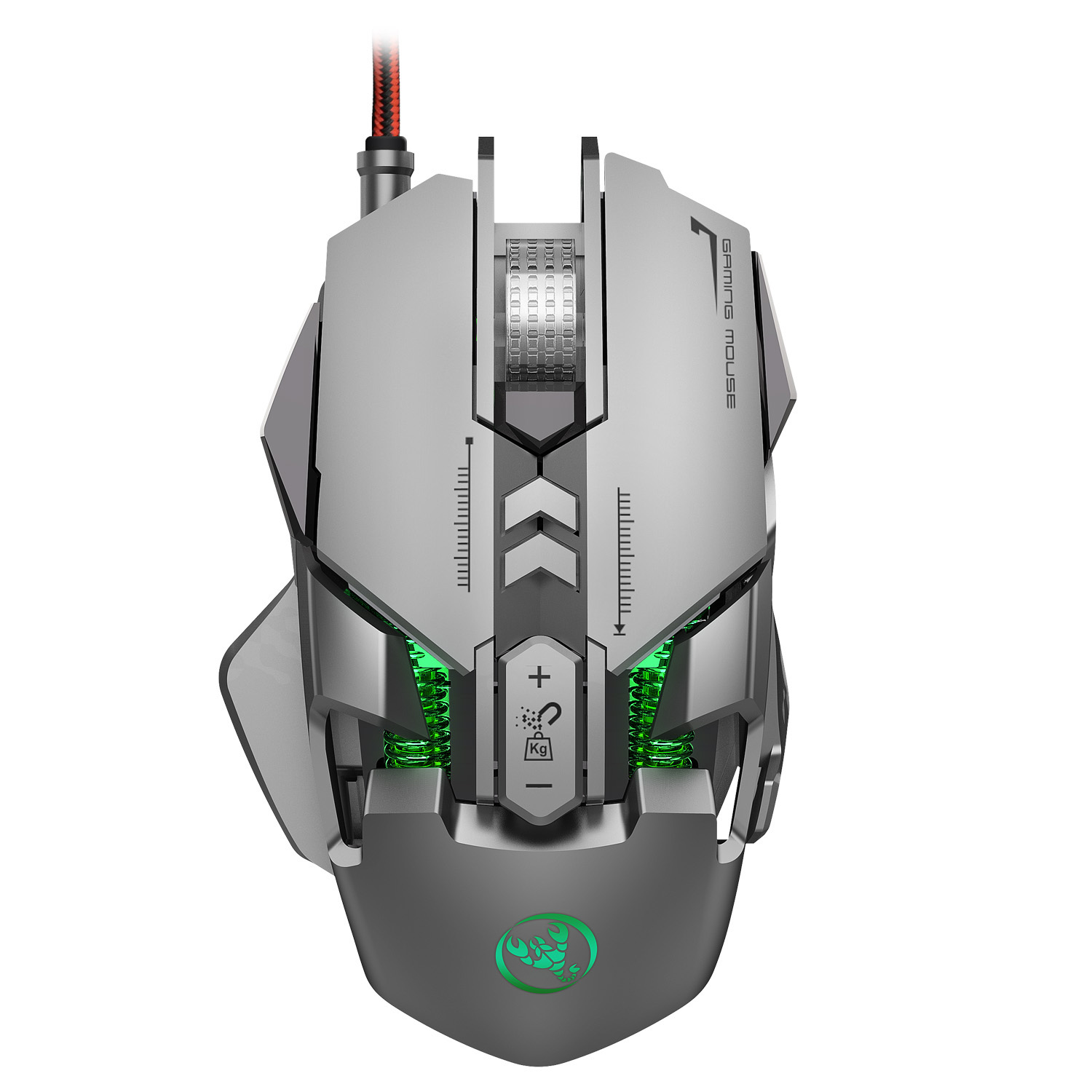 J800 Gaming Mouse Mechanical Macro Definition USB Plug and Play Wired Mouse 7 Buttons Up to 6400 DPI RGB Backlight for PC Laptop Silver grey