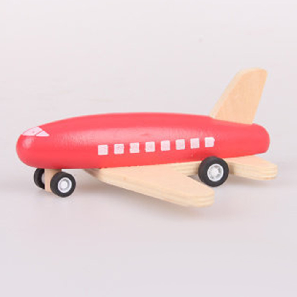 Children Wood Pull Back Plane Toys Mini Aircraft Model with Inertia as Xmas Gifts