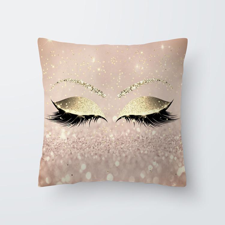 Eyelash Pattern Throw Pillow Cover for Living Room Sofa Sleeping Waist Support 12#_45*45cm