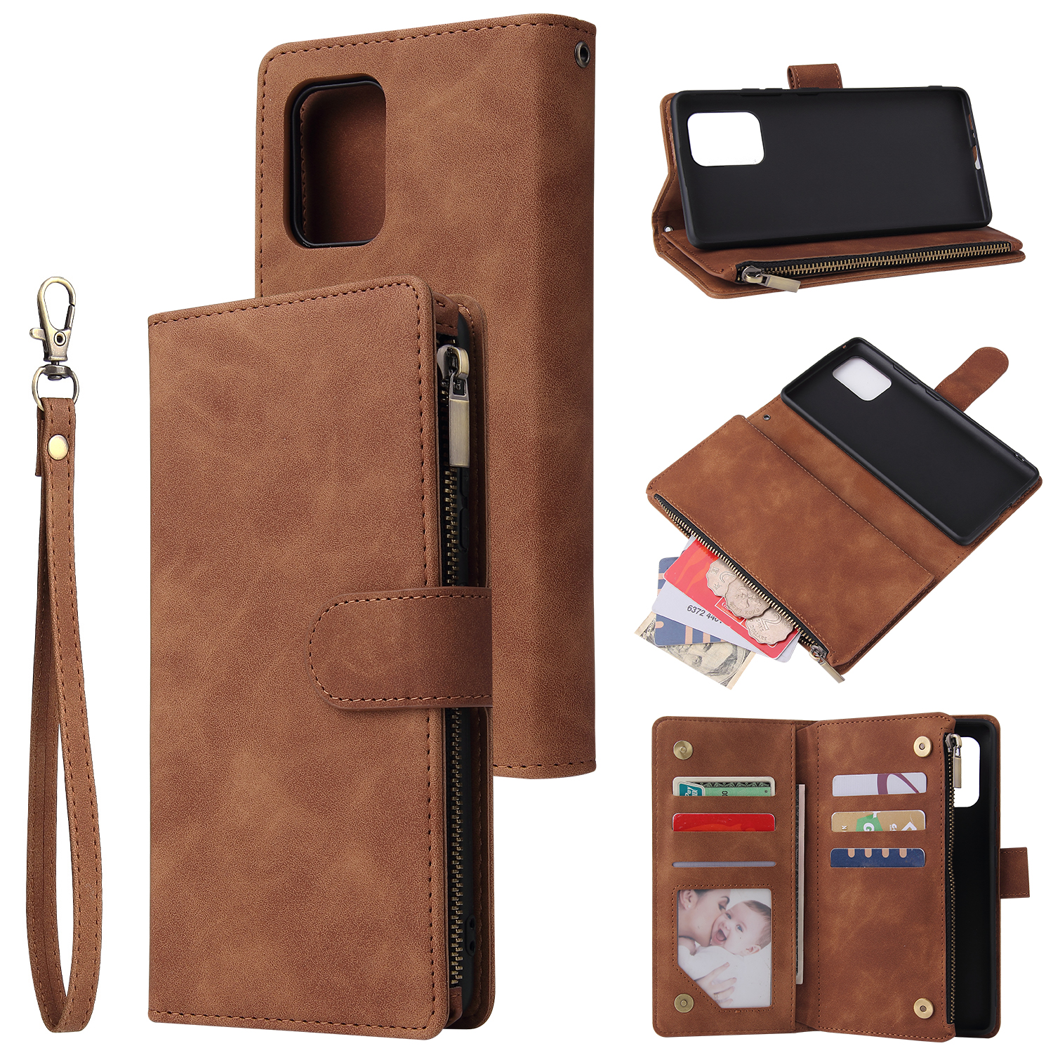 For Samsung S10 Lite 2020 Mobile Phone Case Wallet Design Zipper Closure Overall Protection Cellphone Cover  4 brown