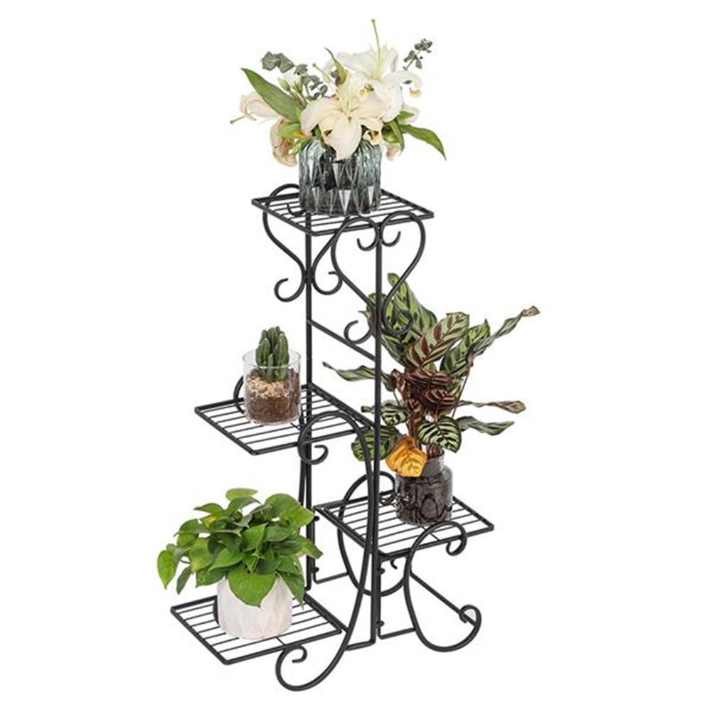 [US Direct] 4-tier Metal Shelves Flower Pot Plant Stand Display For Indoor Outdoor Garden black