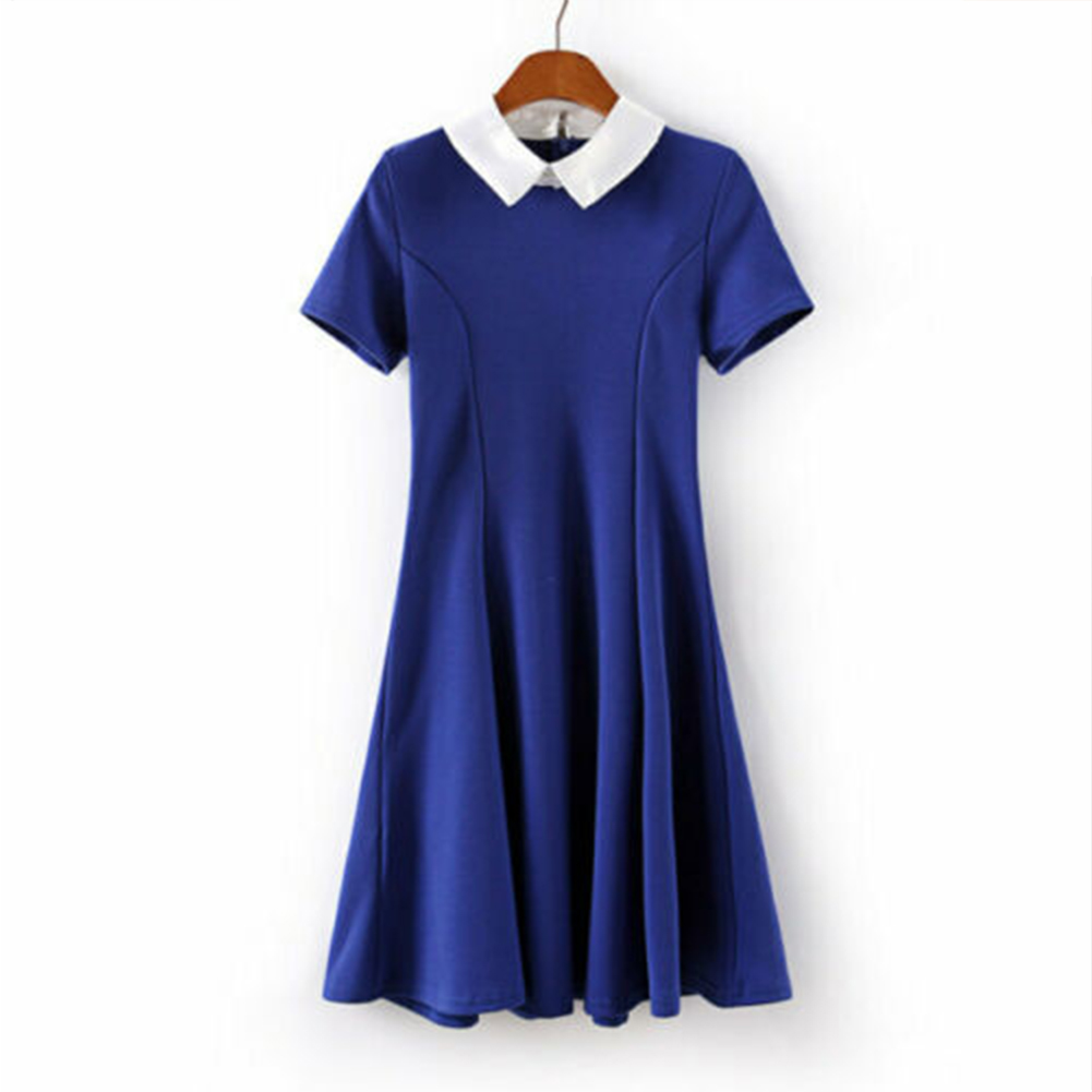 Halloween Fashionable Knit Peter Pan Collar Contrast Color Matching Slim Short Sleeves Dress  blue_XL