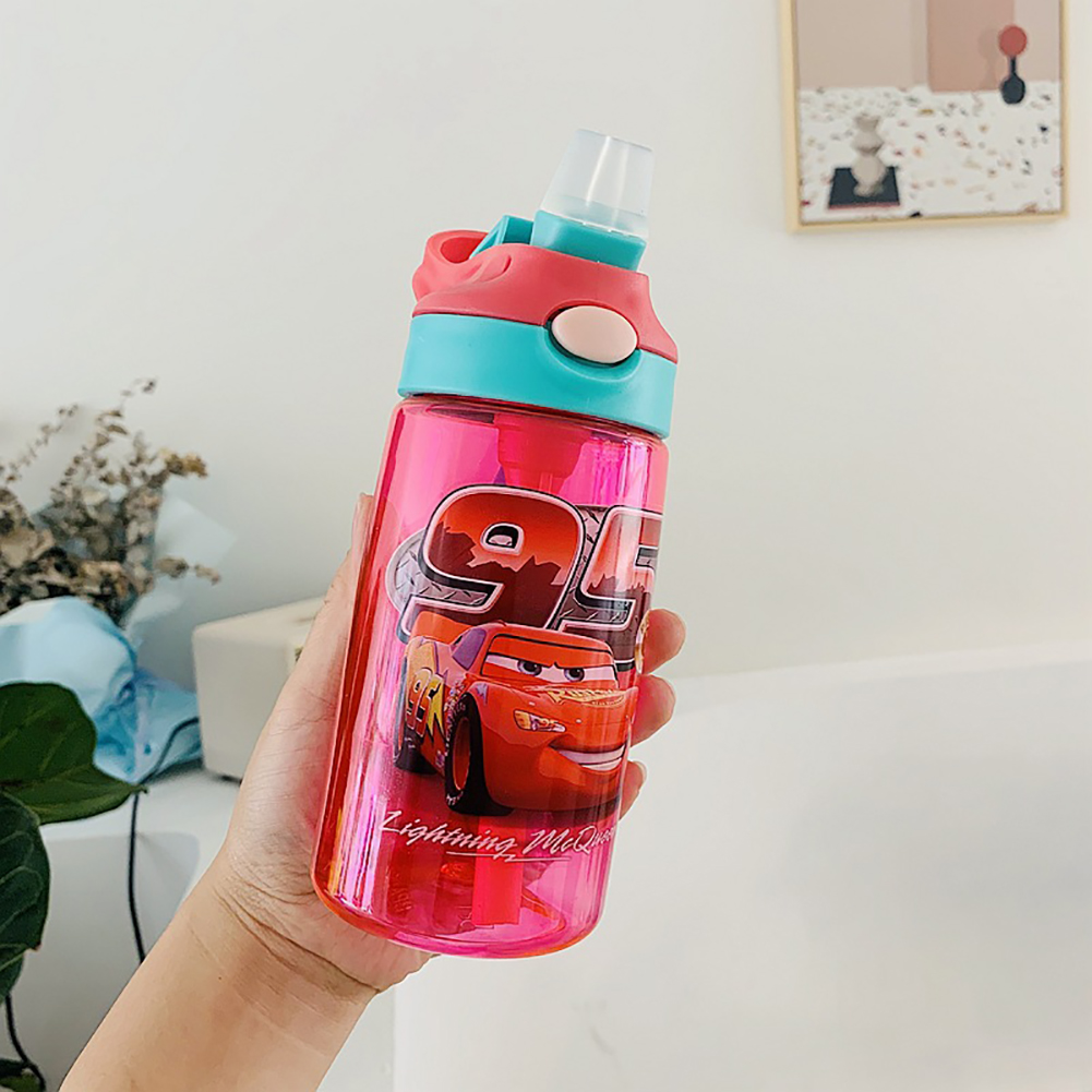 Children's Sippy Cups Pot Portable Sports Cups Bouncing Plastic Baby Duckbill Water Bottle Red car
