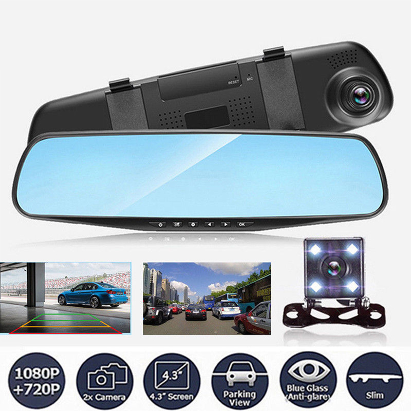 4.3'' 1080P Dual Lens Car Auto DVR Mirror Dash Cam Recorder Rear View Camera Kit