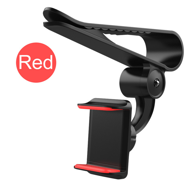 Universal 360 Car Clip Sun Visor Cell Phone Holder Mount Stand GPS Holder in Car Mobile Clip red