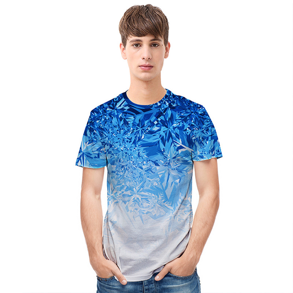 Men Casual All-match Gradient Snowflake Ice Crystal Short Sleeve T-shirt
