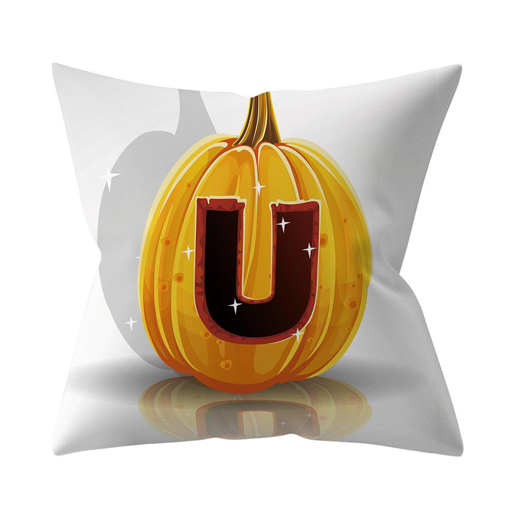 Halloween Series Letter Printing Throw Pillow Cover for Home Living Room Sofa Decor U_45*45cm