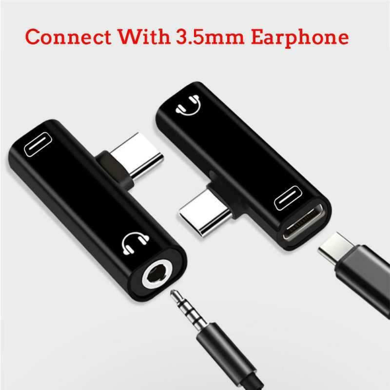 Type C USB C to 3.5mm Aux Audio Cable Earphone External Microphone Audio Jack Headphone Mic Adapter  Black