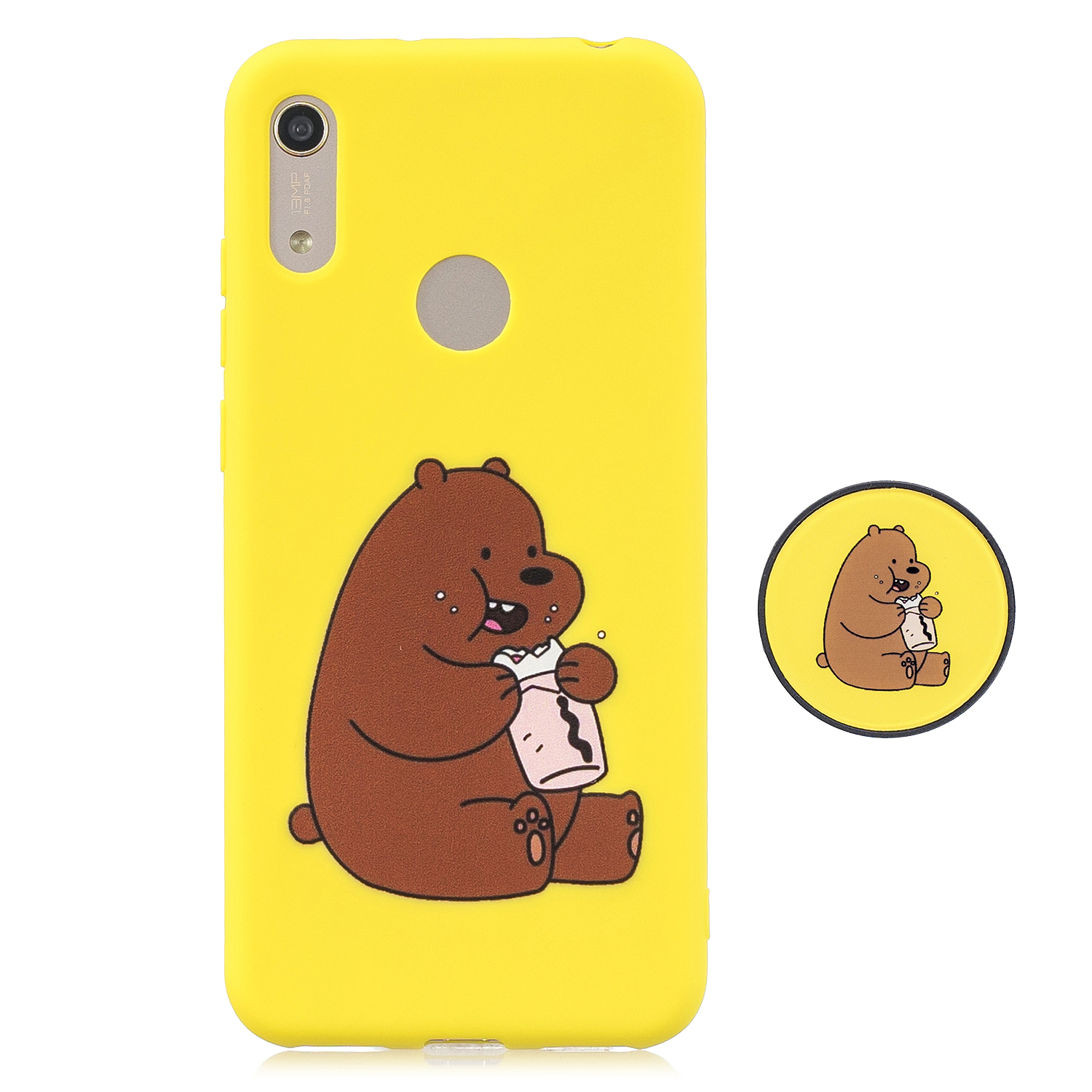 For HUAWEI Y6 2019 Flexible Stand Holder Case Soft TPU Full Cover Case Phone Cover Cute Phone Case 8