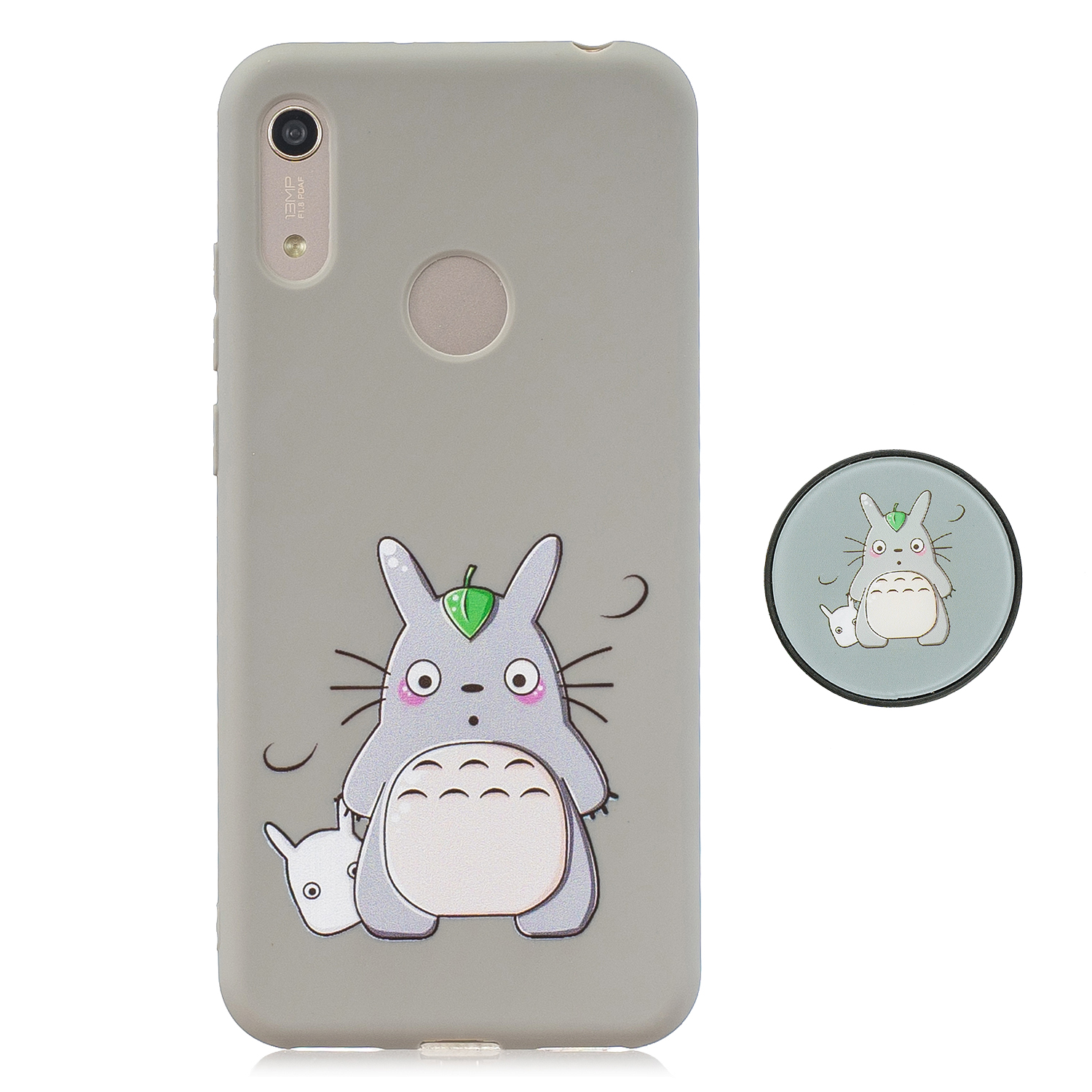 For HUAWEI Y6 2019 Flexible Stand Holder Case Soft TPU Full Cover Case Phone Cover Cute Phone Case 4