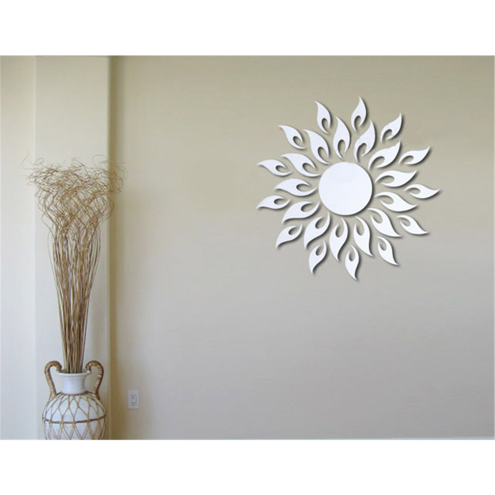 Removable 3D Sun Pattern Mirror Surface Wall Sticker Silver